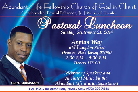 Pastoral Luncheon - Sunday, September 21, 2014 for Supt. Bohannon